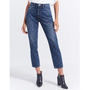 Current Elliott vtg high rise cropped jean studded